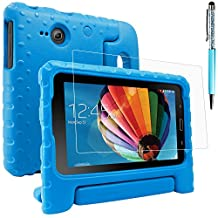 Protective Case for Samsung Galaxy Tab E Lite 7.0 with Screen Protector and Stylus, AFUNTA Convertible Handle Stand EVA Case, PET Plastic Cover and Touch Pen for Tablet 7 Inch - Blue