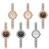Yumian Luxury Women Stainless Steel Rhinestone Bracelet Dial Quartz Analog Wrist Watch