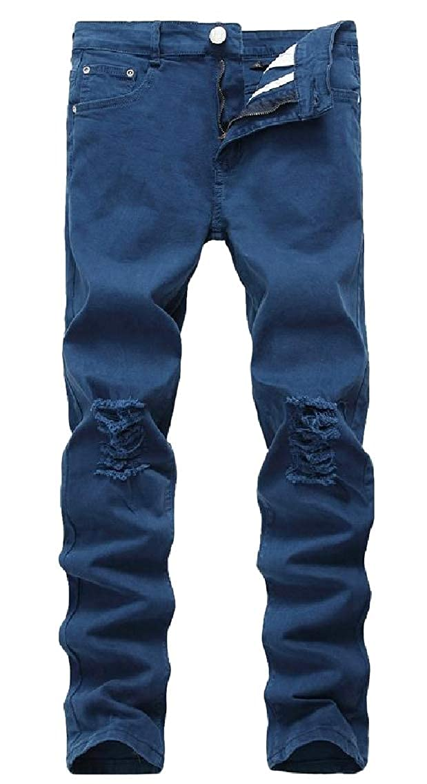Freely Mens Ripped Hole Solid Mid Waist Pockets Stretch Plus-Size Jean