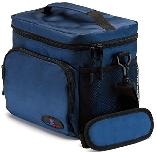Insulated Lunch Bag for Men | Lunch Bags for Men | Lunchbox Adult | Cooler Bags Insulated | Adult Lunch Box by Ramaka Solutions | Non-Toxic Stain Resistant Nylon | 9.5 x 7.9 x 9.3 Inches Navy Blue ()