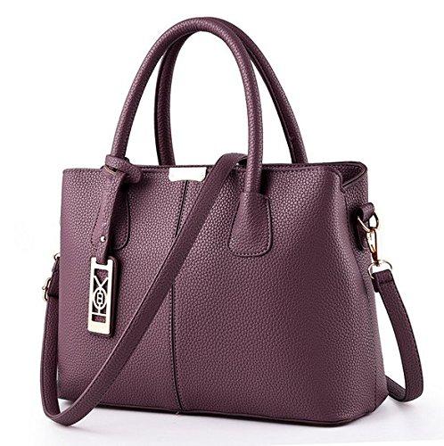 Nodykka Women Fashion Top Handle Satchel Handbags Shoulder Bag Tote Purse Messenger bag Large Simple Black Handbag (PURPLE)