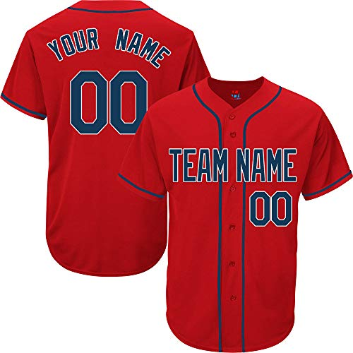 Red Customized Baseball Jersey for Men Practice Embroidery Your Name & Numbers,Navy-White Size 2XL