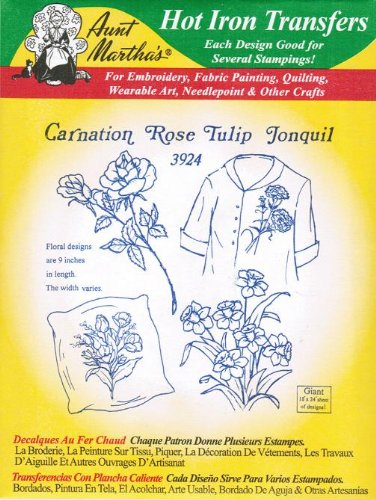 Carnation Rose Tulip Jonquil Aunt Martha's Hot Iron Embroidery Transfer ()