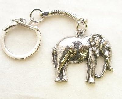 Solid Pewter Elephant Keychain