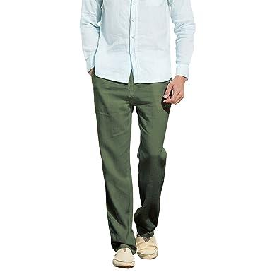 4c5691f470b Manwan walk Men s Casual Beach Trousers Elastic Loose Fit Lightweight Linen  Summer Pants K70