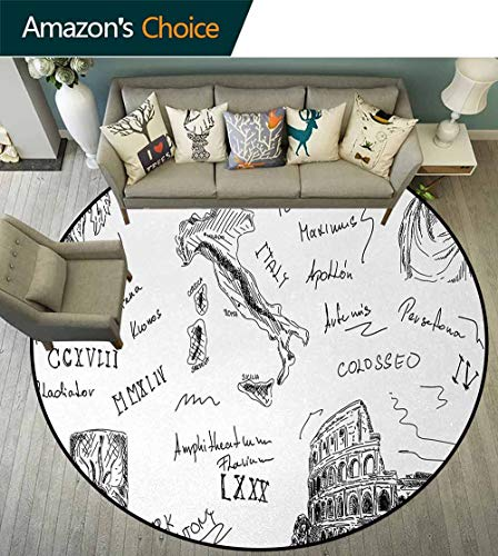 DESPKON-HOME Toga Party Round Area Rug Carpet,Ancient Roman Period Icons Caesar Colosseum Gladiator and Map Sketch Art Living Dining Room Bedroom Hallway Office Carpet Round-39 Inch,Black and White ()