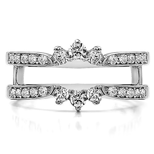 TwoBirch Crown Inspired Half Halo Wedding Ring Guard Enhancer with 0.56 carats of Cubic Zirconia in Sterling Silver by TwoBirch (Image #2)