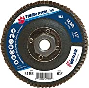 Weiler 51166 Tiger Paw XHD Super High Density Abrasive Flap Disc, Type 27 Flat Style, Phenolic Backing, Zircon