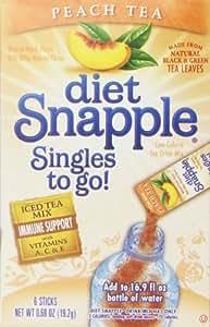 Diet Snapple Singles To Go Peach Tea , 0.68 Ounce (Pack of 12)