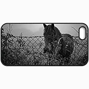 Customized Cellphone Case Back Cover For iPhone 5 5S, Protective Hardshell Case Personalized Horse Fence Sunset Black And White Black