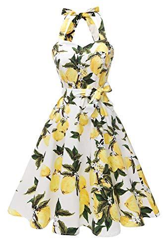 Topdress Women's Vintage Polka Audrey Dress 1950s Halter Retro Cocktail Dress White Lemon L