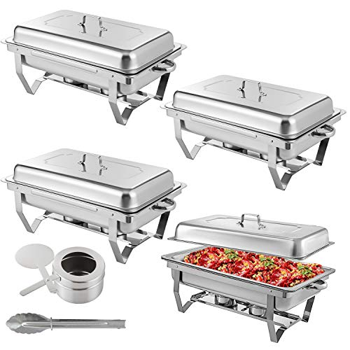Weanas Chafer Dish 8 Quart Full Size Stainless Steel 4 Pcs Chafing Dish with Water Pan,Fuel Holder and Lid for Wedding, Parties,Banquest,Catering Events