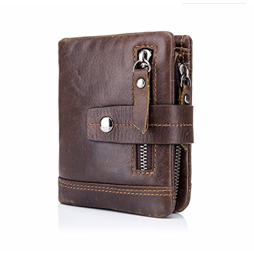 BULL CAPTAIN Men's Wallet Leather Front Pocket Premium Leather Bifold Wallets with Zipper Coin Pocket/Pouch QB-4 (Dark Brown) - Bull Pouch Mens
