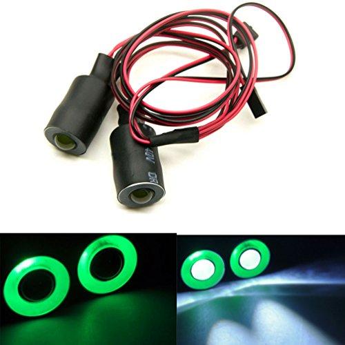 MOHERO 2 Leds Angel Eyes & Demon Eyes LED Light Headlights for 1/10 RC Model Crawler Cars Headlamps (Green+White, 17mm) ()