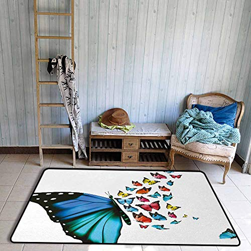 Bath Rug 3D Digital Printing pad Butterfly Creative Conceptual Artwork Monarch Wings Colorful Realistic Natural Wildlife Hard and wear Resistant W55 xL63 Multicolor - Monarch Futon Mattress