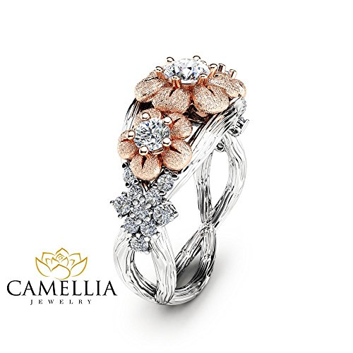 Three Stone Natural Diamond Engagement Ring Floral 14K Two Tone Gold Branch Ring