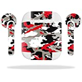 MightySkins Protective Vinyl Skin Decal for Apple AirPods wrap cover sticker skins Red Camo