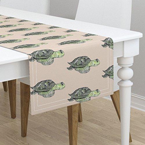 Table Runner - Turtle Tortoise Sea Ocean Underwater Cute Animal by Taraput - Cotton Sateen Table Runner 16 x 108 by Roostery