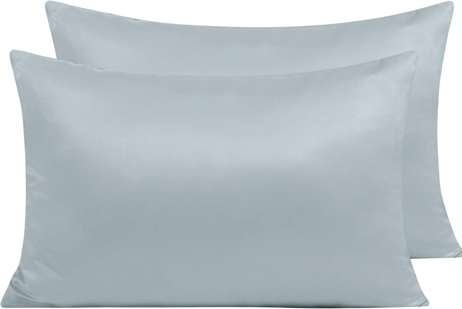 NTBAY Zippered Satin Pillow Cases for Hair and Skin, Luxury Queen Hidden Zipper Pillowcases Set of 2, 20 x 30 Inches, Grey