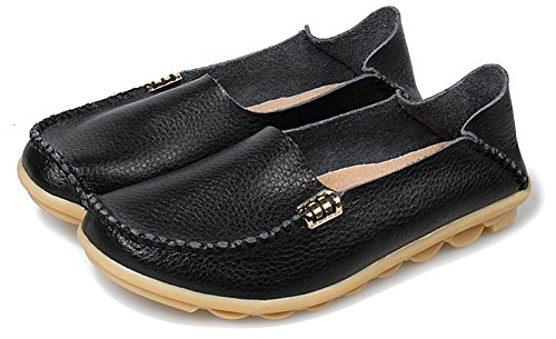 Fangsto Womens Cowhide Casual Slipper Loafers Moccasin Driving Shoes Flat Slip-Ons Black 8KNMYwbe