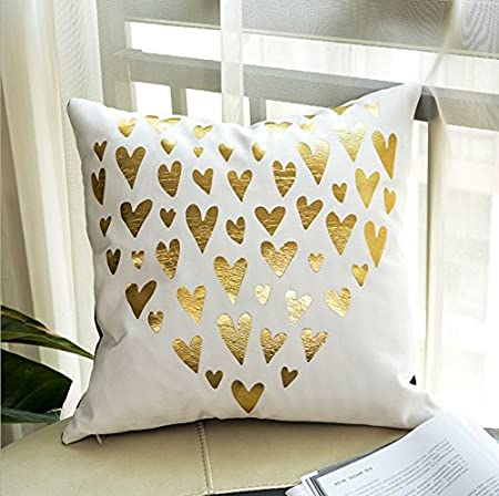 Gold Printed Pillow Case, WCIC Car Waist Cushion Square Sofa Pillow Cover Decor 18 x 18 Leaf