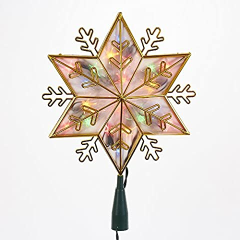 Kurt Adler UL 20-Light Gold Snowflake Star Treetop with Multi-Colored Lights - Top Snowflakes