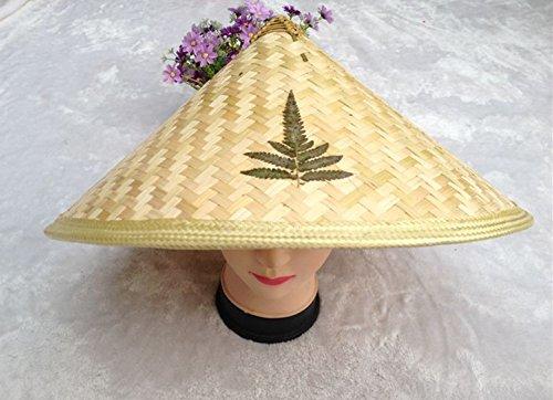Beautiful Oriental Handmade Straw Cone Garden Fishing Sun Rice BAMBOO HAT ()