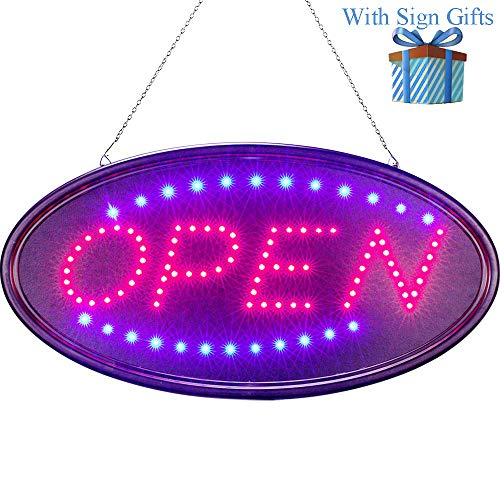 LED Open Sign for Business 19 X 10 Inch, Two Modes Light Steady Flashing Electronic Lighted Signs Displays for Business, Walls, Glass Window, Shop, Hotel, Bar,Liquor Stores ()