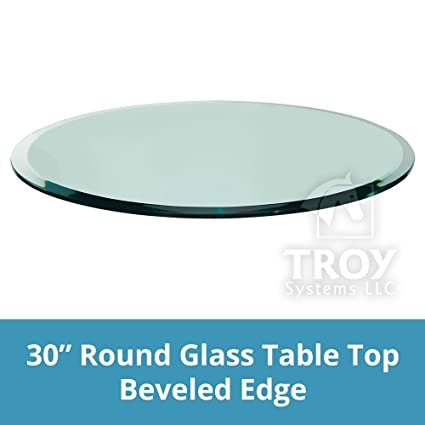 TroySys 1/2 Inch Thick 30 Inch Round Glass Table Top With Beveled Edge And