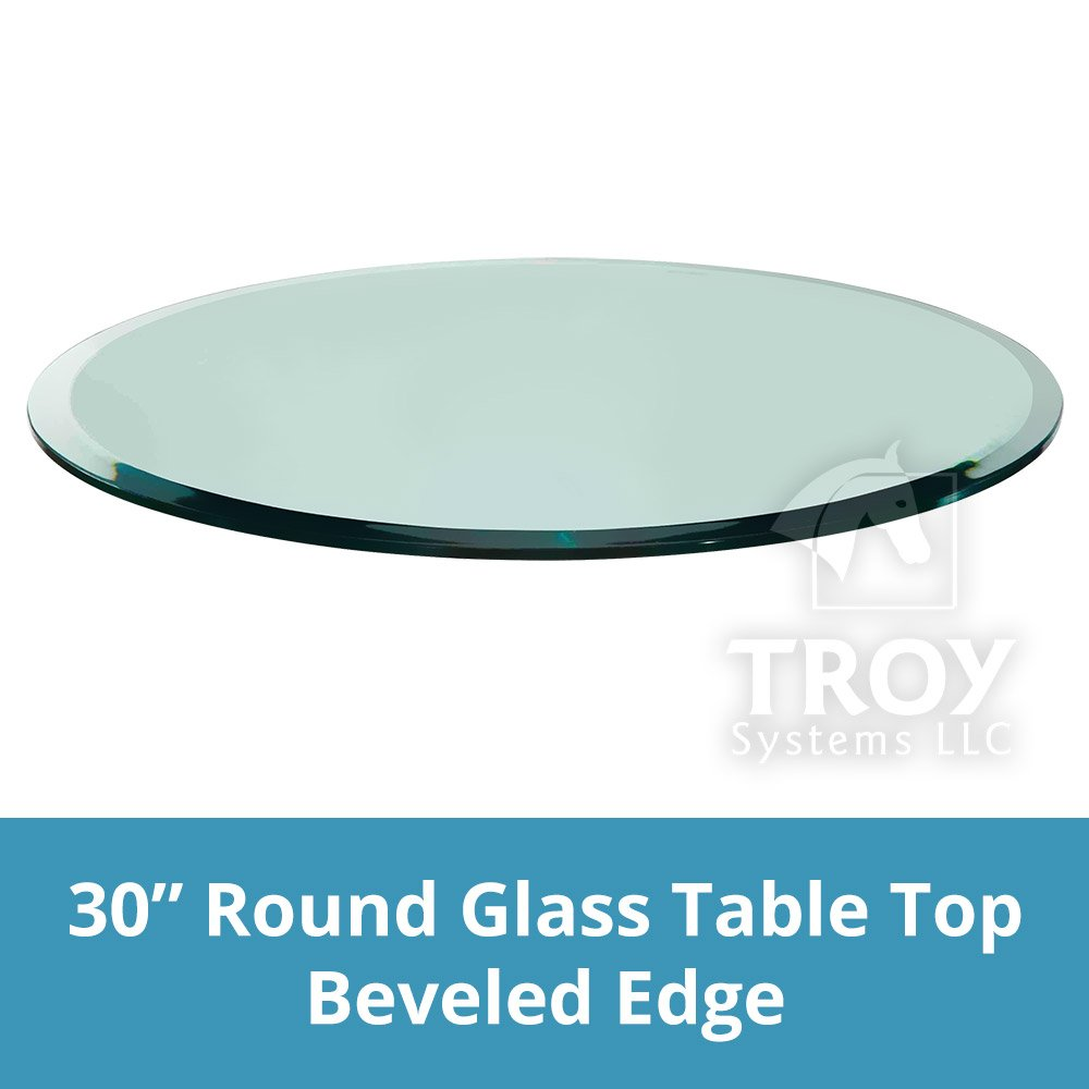 TroySys Glass Table Top, Beveled Edge, Tempered Glass,30'' L Round, 1/4'' H Thick