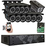 GW Security 16 Channel NVR H.265 License Plate PoE Security Camera System with 10 x 5MP 1920p 2.8-12mm Varifocal Bullet IP Camera and 1 x 3M 1536p IP License Plate Camera