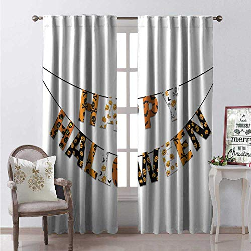 Halloween Thermal Insulating Blackout Curtain Happy Halloween Banner Greetings Pumpkins Skull Cross Bones Bats Pennant Blackout Draperies for Bedroom W84 x L96 Orange Black White]()