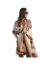 DANA XU 100% Pure Silk Large Size Women Soft Pashmina Shawls and Wraps … (Coffee)