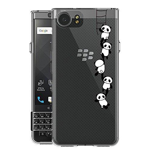 Funda Para BlackBerry Keyone, Sunrive Silicona Funda Slim Fit Gel Transparente Carcasa Case Bumper de Impactos y Anti-Arañazos Espalda Cover(tpu Dinosaurio)+1 x Lápiz óptico tpu Panda 1