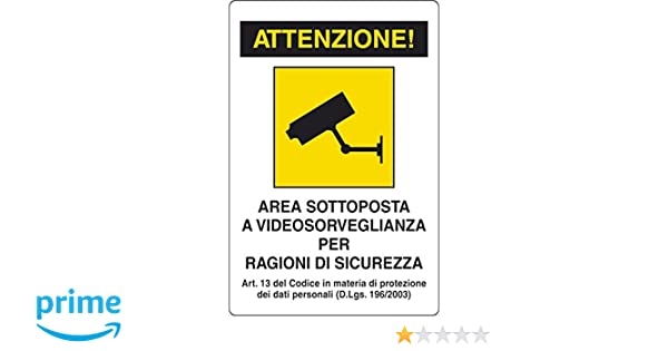 Carteles de plástico de videovigilancia en Italiano: Amazon.es: Bricolaje y herramientas