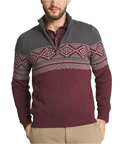 s Chest Stripe 1/4 Zip Sweater, Raven Heather, Large (1/4 Zip Stripe Sweater)