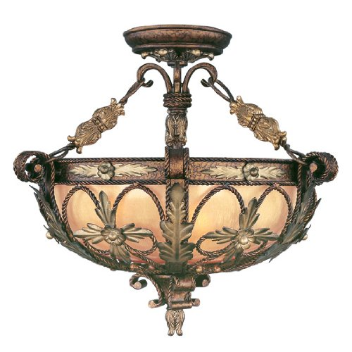 - Livex Lighting 8843-64 Pomplano 3 Light Convertible Hanging Lantern/Ceiling Mount in Palacial Bronze with Gilded Accents