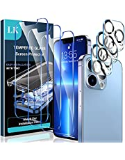 [3+3 Pack] LK 3 Pack Screen Protector Compatible for iPhone 13 Pro with 3 Pack Camera Lens Protector, Tempered Glass Film, HD, Sensitive Touch, 6.1 Inch