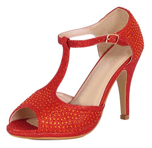Bella Marie Shania-11 Womens Peep Toe Strass Glitter T- Rem Dans Sandaler Röd