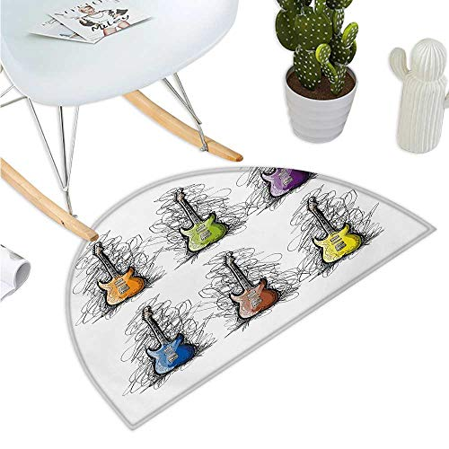 Music Semicircular Cushion Sketchy Lines Colored Design Guitar Insrument Collage Teens Rocker Song Lovers Image Halfmoon doormats H 35.4