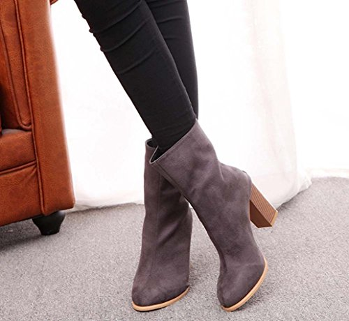 Women Boots New Hot Sale Fashion Women Buckle Ladies Faux Warm Boots Ankle Boots High Heels Martin Shoes by Neartime
