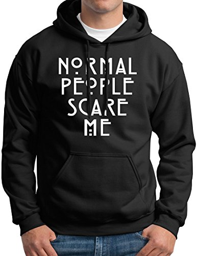 New York Fashion Police Normal People Scare Me Hoodie AHS Black XL (People Hoodie Mens Sweatshirt)