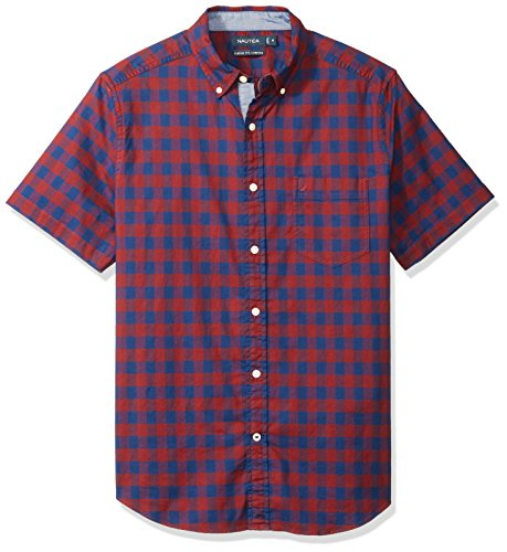 Nautica Men's Short Sleeve Stretch Oxford Plaid Button Down Shirt, Barolo, (Red Plaid Oxford Shirt)