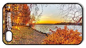 Hipster DIY iPhone 4 cover autumn lake sunset PC Black for Apple iPhone 4/4S by runtopwell