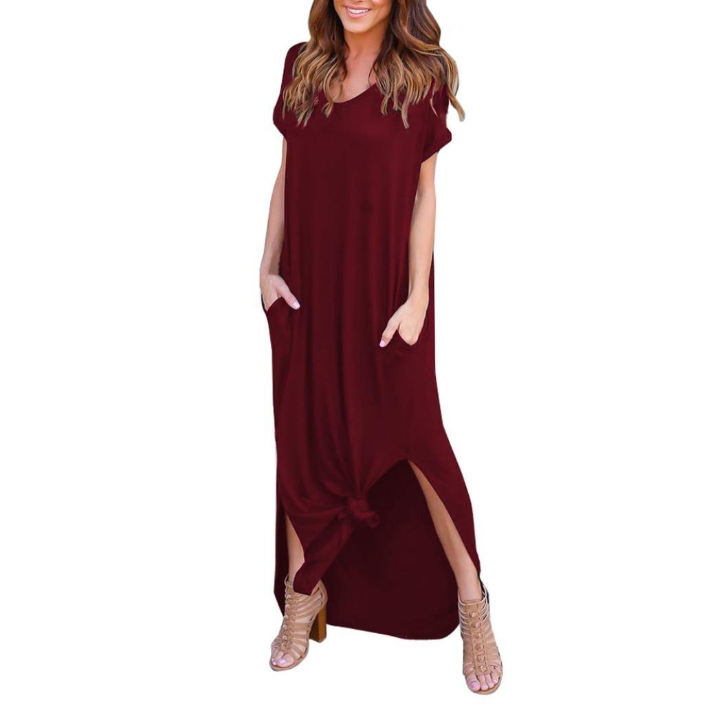 Women Dress,Clearance Sale Womens Loose Summer Beach Gallus Short Sleeves Floor-Length Long Dress (Red, L)