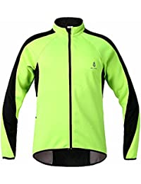Fleece Thermal Cycling Jacket Jersey Long Sleeve Windproof UV-Protect Coat Green