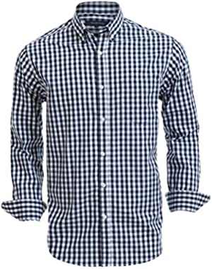 Mens Button Down Shirts 100% Cotton Long Sleeve Shirts Regular Fit