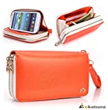 [RunWay] Samsung i9300 Galaxy S3 S III Premium PU Leather Phone Case with Shell / Women's Wallet Wrist-let Clutch - ORANGE & WHITE. Bonus Ekatomi Screen Cleaner