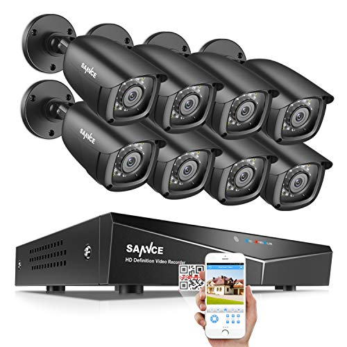 SANNCE 8CH Security Surveillance System H.264 1080N Wired DVR and (8)