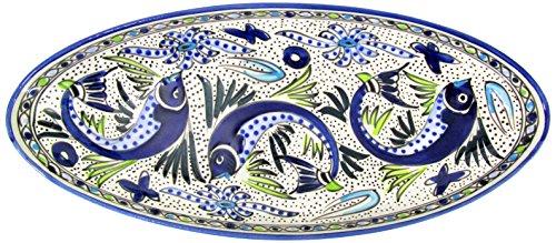 Le Souk Ceramique AF12 Stoneware Extra Large Oval Platter, Aqua Fish